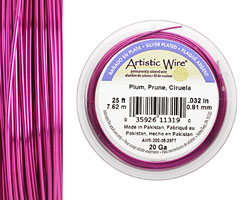 Artistic wire Silver Plated Plum 20 gauge, 25 feet