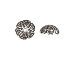 Antique Silver (plated) Roped Droplets Bead Cap 4x10mm
