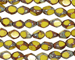 Czech Glass Chartreuse Picasso Table Cut Rice 8x5mm