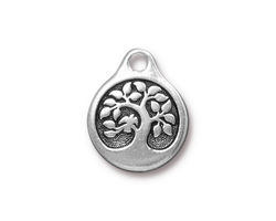 TierraCast Antique Silver (plated) Bird In A Tree Pendant 16x20mm