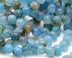 Blue Haze Fire Agate Faceted Round 10mm