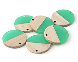Wood & Emerald Resin Coin Focal Link 28mm