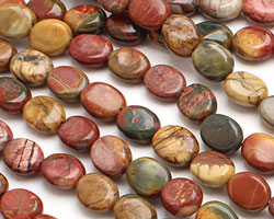 Red Creek Jasper Flat Oval 10x8mm