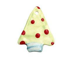 Jangles Ceramic Lime w/ Red Dot Tree Pendant 28x35mm