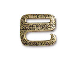TierraCast Antique Brass (plated) Distressed E Hook Clasp 18x20mm