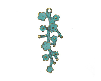 Patina Green Brass (plated) Cherry Blossom Branch Pendant 14x41.5mm