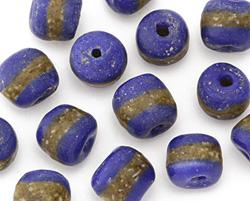 African Powder Glass (Krobo) Royal Blue w/Band Tumbled Round 10-12mm