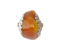 Tibetan Resin Amber Nugget w/ White Brass Floral Caps 29-31x30-34mm