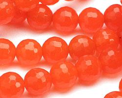 Neon Orange Colorful Jade Faceted Round 8mm