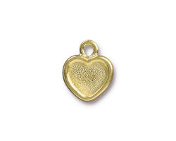 TierraCast Gold (plated) Heart Bezel Drop 13x16mm