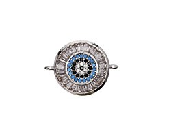 Storm Mix Vintage Style Pave CZ Rhodium (plated) Coin Focal Link 20x15mm
