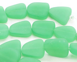 Dark Opaque Spring Green Recycled Glass Flat Freeform 15x13-15mm