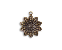 Vintaj Natural Brass Decennial Flower 19.5x16mm