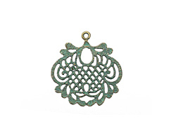 Patina Green Brass (plated) Lace Leaf Focal 27x29mm