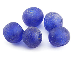 African Recycled Glass Cobalt Tumbled Rondelle (large hole) 19-22x25-27mm