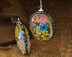 Glass Orb Oval w/ Victorian Mix & Turquoise Flowers and Pave Crystals 25x50mm