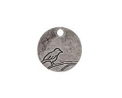 Nunn Design Antique Silver (plated) Small Circle Bird Tag 19mm