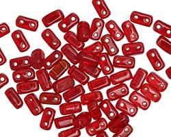 CzechMates Glass Siam Ruby 2-Hole Brick 3x6mm