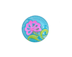 Czech Glass Azure w/ Pink Single Flower Button 18mm