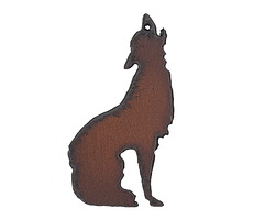 The Lipstick Ranch Rusted Iron Howl at the Moon Pendant 34x63mm