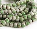Bottle Green Crackle Porcelain Tumbled Rondelle 5x7mm