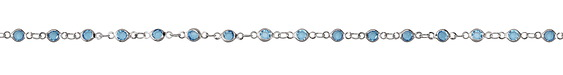 Zola Elements Aqua Crystals Round Link Imitation Rhodium (plated) Chain
