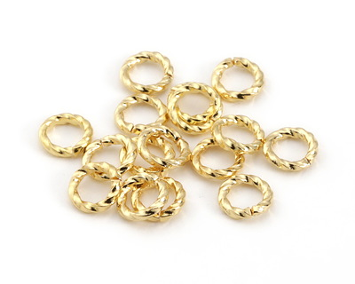 Gold (plated) Twisted Jump Ring 6mm