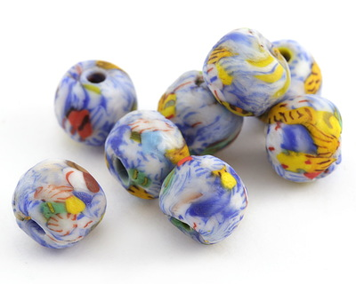 African Recycled Powder Glass & Seed Bead Blue Skies Mix Tumbled Round 10-14mm