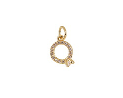 Clear Pave CZ Gold (plated) Stainless Steel Engagement Ring Charm 8x15mm