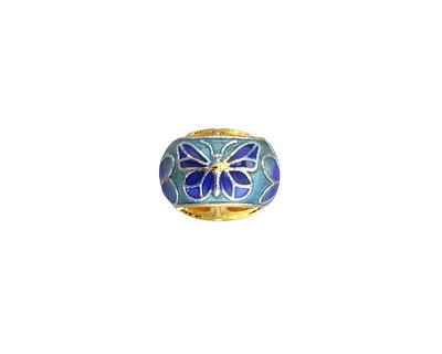 Cloisonné Blue, Aqua & Green w/ Gold Finish Openwork Butterfly Rondelle 9x12mm
