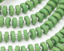 Apple Green Recycled Glass Heishi 8mm