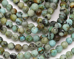 African Turquoise Faceted Round 4mm