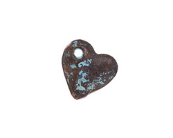 Greek Copper Patina Angled Heart Drop 15mm