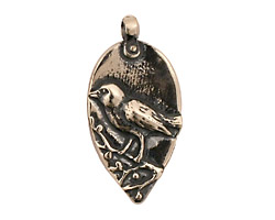 Green Girl Sterling Silver Rumi Bird Pendant 16x32mm