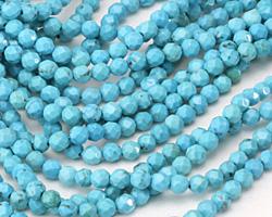 Blue Magnesite Faceted Round 4mm