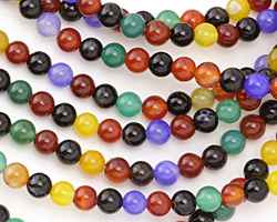 Multi-Color Agate (bold) Round 6mm