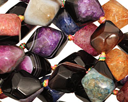 Black & Rainbow Agate Faceted Nugget 16x12mm