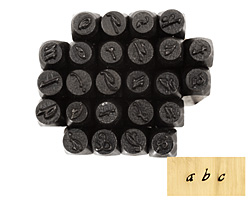 Script Lowercase Letters Metal Stamp Set w/ Box 3mm