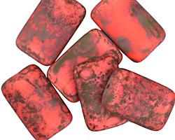 Czech Glass Matte Coral Picasso Rectangle 19x12mm