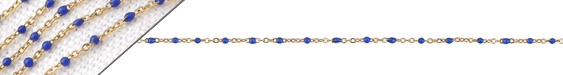 Gold (plated) Stainless Steel Cobalt Tiny Cable Chain