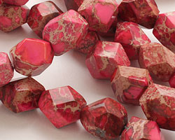 Ruby Impression Jasper Faceted Nugget 16-20x12-16mm