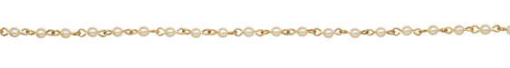 Czech Glass Cream Pearl on Gold (plated) Bead Chain