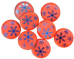 Czech Glass Laser Etched Snowflakes on Coral w/ Iris Blue Finish Coin 14mm