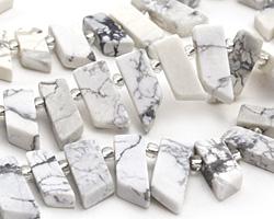 White Howlite (matte) Stick Slice Focal Set 9-11x26-35mm