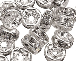 Silver (plated) Crystal Rhinestone Rondelle 6mm
