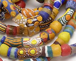 African Handpainted Bright Mix Powder Glass (Krobo) Beads 10-25x8-13mm