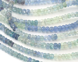Blue Rainbow Fluorite Faceted Rondelle 3-4mm