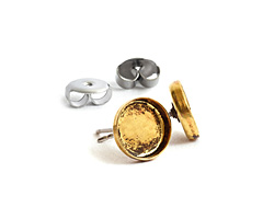 Nunn Design Antique Gold (plated) Circle Bezel Post Earring 8.5mm