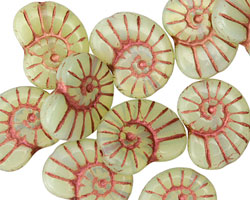 Czech Glass Mint w/ Copper Ammonite 20x13mm