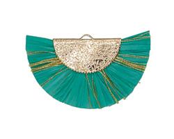 Green Turquoise w/ Metallic Gold Fringed Raffia Focal 45x27mm